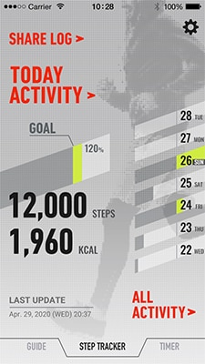 Calorie/step count display